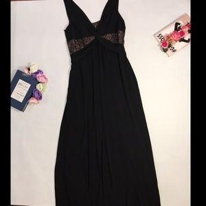 BCBG MAXAZRIA Black Maxi Dress Sequin V Neck M